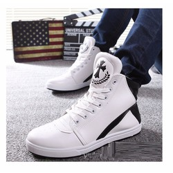 Giày bata phối trắng đen cổ cao màu trắng