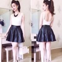 Chân váy da xòe ngắn dày dặn cực sành điệu CVX8