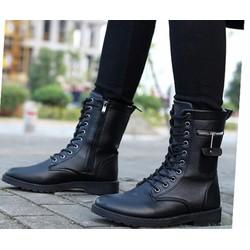 Giày nam combat boot dây kéo ngang