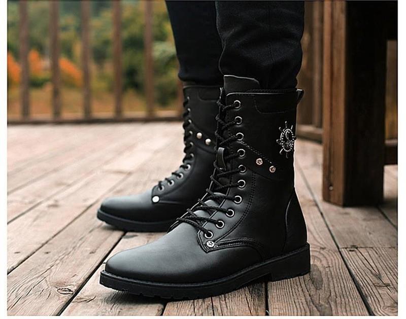Giày nam combat boot mũi neo 1