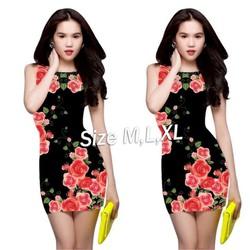 ED1085 Đầm body đen in hoa hồng ngọc trinh