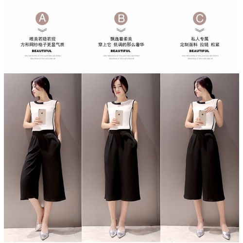 Set áo voan trắng đen quần cullotes TH07121