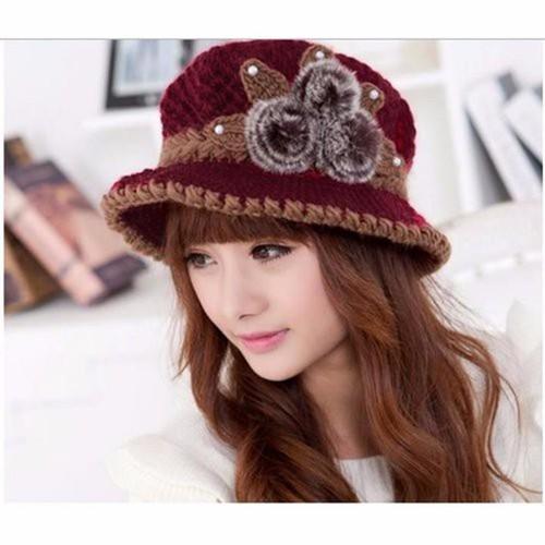 Mũ Nón len nữ vành suông Hàn Quốc