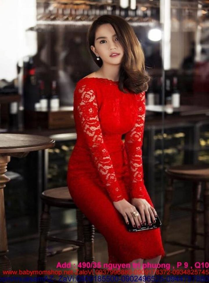 Đầm ôm đi tiệc màu đỏ nổi bật ren hoa sang trọng DOV477 1