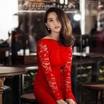 Đầm ôm đi tiệc màu đỏ nổi bật ren hoa sang trọng DOV477