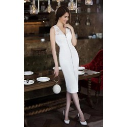 Đầm o6m body trắng phối ren Ngọc Trinh D415