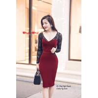 FREESHIP - Đầm Body Tay Dài Phối Ren ĐỎ G213 - GS135