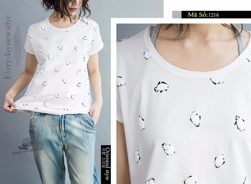 Áo thun nữ màu trắng chim cánh cụt dễ thương 1