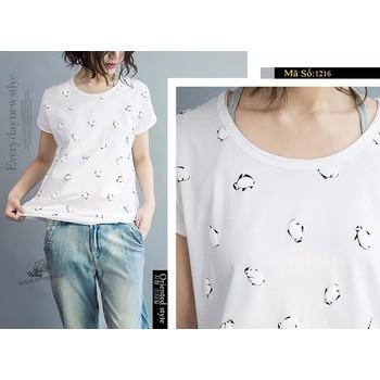 Áo thun nữ màu trắng chim cánh cụt dễ thương