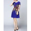 Đầm xòe Tơ Lụa Silk Spring in hoa 3D cao cấp - HTP754 - GS2151
