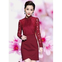 Đầm ren Cổ Lọ Xếp Ly Kate Sang Trọng - HTP783 - GS1951