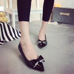 Giày búp bê mũi nhọn đính nơ viền da bóng GF55013185