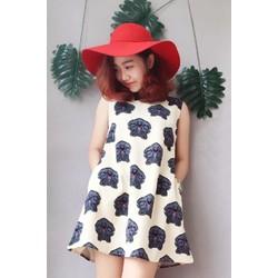Đầm suông họa tiết mặt hổ 2217 Kem