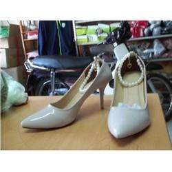 Giày cao gót vòng ngọc trai 7cm