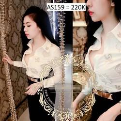 Áo Sơ mi tay dài thêu họa tiết nổi dzung biez AS159