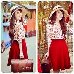 Set áo sơ mi hoa chân váy đỏ cực xinh VD117