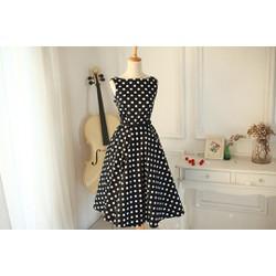 Đầm chấm bi phong cách Vintage, kèm phụ kiện