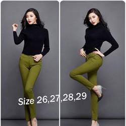 EQ191 Quần Skinny jean color block lưng cao 1 nút