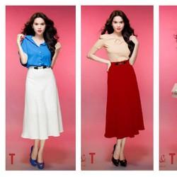 Chân váy trắng xòe đơn giản sang trọng giống Ngọc Trinh
