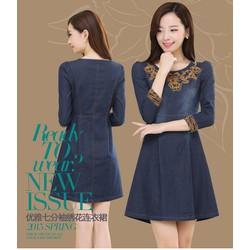 Đầm jean dạo phố thêu nổi cao cấp D345-170