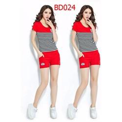 BD024 Bộ đồ sọc ngang quần lửng