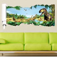 Decal dán tường Công viên khủng long tạo cảm giác 3D