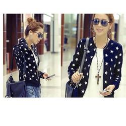 áo khoác nữ cổ trụ họa tiết ngôi sao cực iu giá rẽ vải tốt nhất