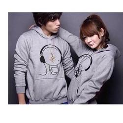 áo khoác cặp đôi chồng cổ  hình pé nghe nhạc kute giá rẽ vải tốt