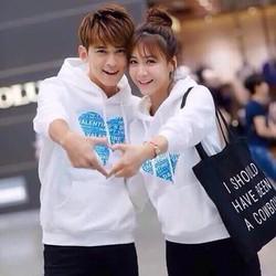 áo khoác cặp đôi chồng cổ trái tim xanh cực dễ thương giá rẽ vãi tốt