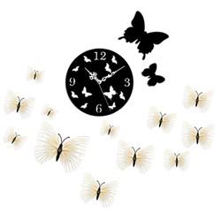 Đồng hồ dán tường kiểu Hàn Quốc + 12 bướm 3D độc đáo