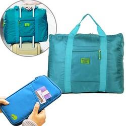 Combo túi xách du lịch gấp gọn + ví cầm tay đựng passport