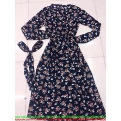 Đầm xòe họa tiết hoa xinh đẹp kèm dây thắt lưng sành điệu DXV185