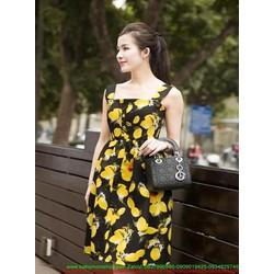 Đầm xòe 2 dây đín nút họa tiết hoa chanh nổi bật xinh đẹp DXV177