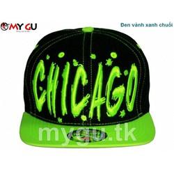Nón snapback cao cấp CHICAGO M90 - Màu đen vành xanh chuối