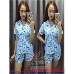 Đồ bộ mặc nhà pyjama họa tiết hình gấu và nơ xinh xắn BTn453