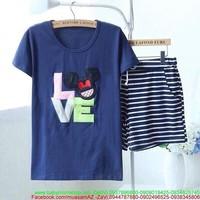 Đồ bộ nữ short áo in logo mickey love dễ thương và quần sọc DBTN454