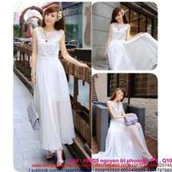 Đầm maxi trắng ren phối voan sành điệu sang trọng DDh210