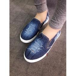 Giày slip on Jean rách wax màu đậm VV06