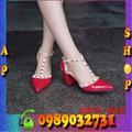 Giày đế cao nữ laboutin phối kim loại gai đỏ - GN39