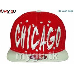 Nón snapback cao cấp CHICAGO M90 - Màu đỏ vành trắng