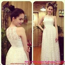 Đầm dạ hội ren dài sát nách thiết kế đẹp như Ngọc Trinh DDH131