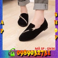 Giày búp bê nữ phối dây kéo dễ thương - GN36
