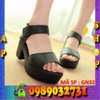 Giày sandal đế cao 5cm chất liệu da Hàn Quốc - GN32