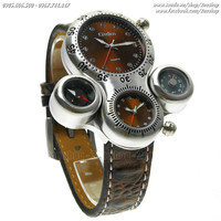 Đồng hồ thể thao OULM dual time, la bàn, nhiệt kế - Mã số: DH1618