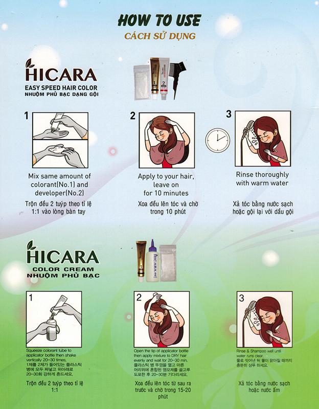 Thuốc nhuộm tóc dạng gội Hicara Easy 4 5