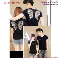 Áo thun cặp tình nhân đôi cánh thiên thần đáng iu vATC129