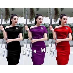 Đầm body trể vai đính tag y hình cao cấp- 3 màu
