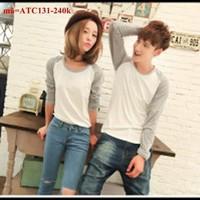 Áo thun cặp tình nhân tay dài phối màu sành điệu vATC131