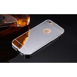 Ốp IPhone 5, 5s tráng gương viền kim loại bo tròn - Bạc