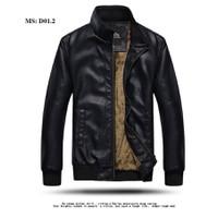 Áo khoác da nam lót lông cổ đứng - giảm giá sinh nhật shop